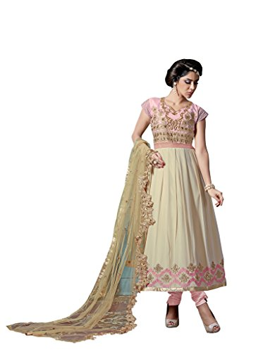 Mirchi Fashion Women's Pink and Cream Party wear Semi Stitched Anarkali Suit ()