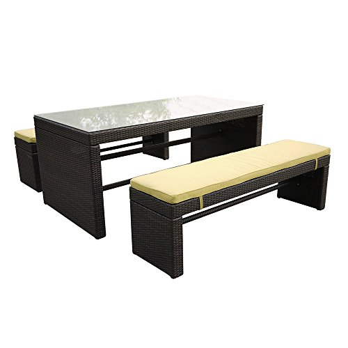 Bequia Bench Outdoor Patio Dining Set With Wicker Black