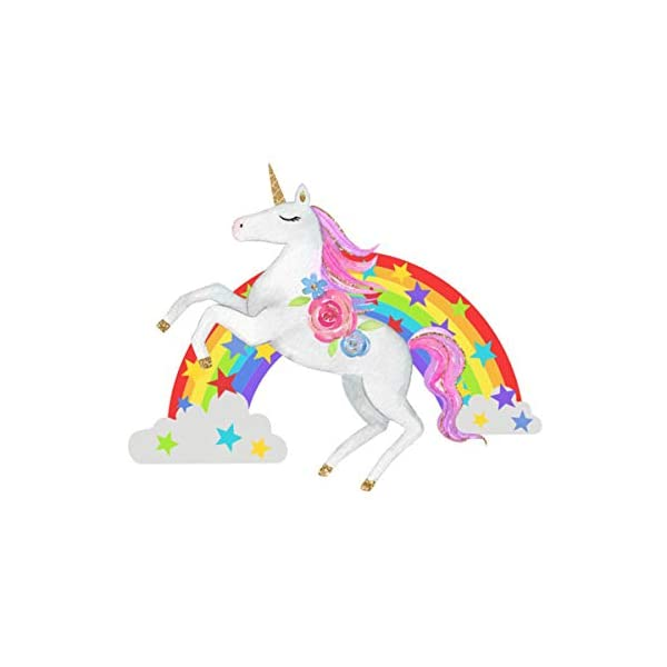 Bamsod Unicorn Wall Stickers Rainbow Kids Wall Decal Art Girls Bedroom Nursery Home Decor 11 inch x 13 inch 3