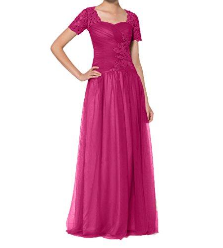 Kurzarm Braun Abiballkleider Pink Abendkleider Lang Charmant Partykleider A Damen Brautmutterkleider Linie Tuell E5qOq