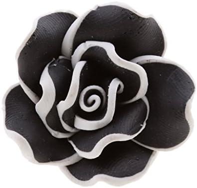 女性男性襟ピンバッジコサージュポリマークレイフラワーブローチピンギフト - ブラック