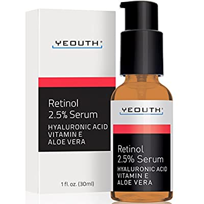 Retinol Serum 2.5% with Hyaluronic Acid, Aloe Vera, Vitamin E - Boost Collagen Production, Reduce Wrinkles, Fine Lines, Even Skin Tone, Age Spots, Sun Spots - 1 fl oz - Yeouth - Guaranteed