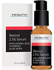 Retinol Serum 2.5% with Hyaluronic Acid, Aloe Vera, Vitamin E - Boost Collagen Production, Reduce Wrinkles, Fine Lines, Even Skin Tone, Age Spots, Sun Spots - 1 fl oz - Yeouth - Guaranteed