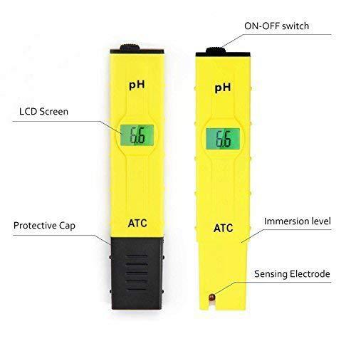 JTD High Accuracy Pocket Size Handheld pH Meter Pen Tester (Yellow) 0-14pH Measurement Range, Auto Temperature Compensation