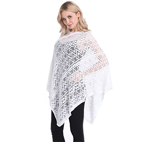 Leoparts Women Soft Knitted Pullover V Neck Batwing Poncho Cape Spring Sweater Cloak - Striped Poncho Girls