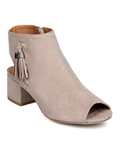 Qupid FF58 Women Faux Suede Peep Toe Tasseled Chunky Heel Bootie - Taupe