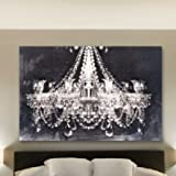 Amazon abstract modern canvas painting contemporary wall art canvas wall art glam chandelier black and white graphic certified authentic 30 h x 45 aloadofball Gallery