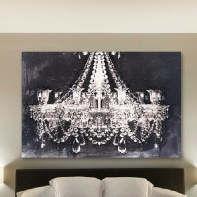 Amazoncom Canvas Wall Art Glam Chandelier Black and White Graphic