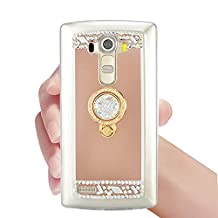 Cases LG G4, LG G4 Case Cover, Bonice Diamond Luxury Crystal Rhinestone Soft Rubber Bumper Mirror Makeup Case with Ring Stand Holder for LG G4 - Rose Gold