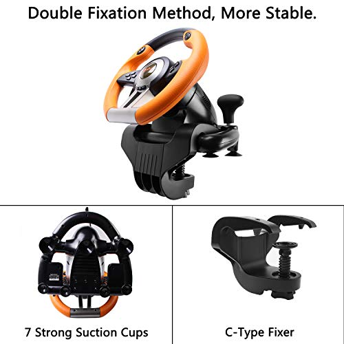 180 Degree Dual-Motor Vibration Driving Gaming Racing Wheel with Responsive Pedals for PC/PS3/PS4/XBOX ONE/Switch PXN-V3II (Orange) 41wzVJDW9yL