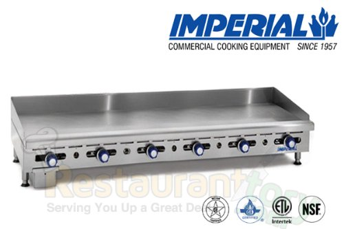 Imperial Commercial Griddle Manually Controlled 6 Burners 72'' Wide Plate Nat Gas Model Imga-7228-1 by Imperial