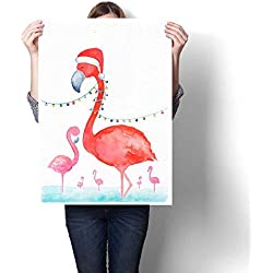 "Anshesix Wall Paintings Pink Flamingo in Santa hat Watercolor Illustration Merry hristmas and Happy New Year Card Template with Text Place Modern Wall Art for Living Room Decoration 16""x24"""