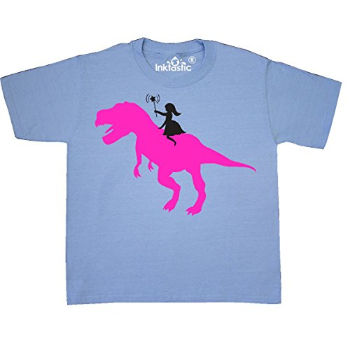 Country Kids Light T-shirt (Inktastic - Princess riding her T-Rex Youth T-Shirt Youth Small (6-8) Light Blue)