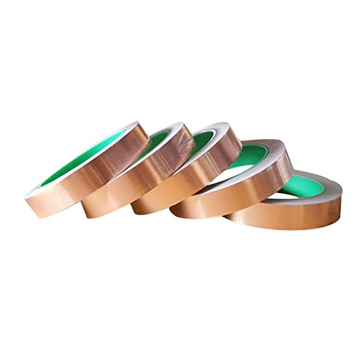 21.8yards EMI Shielding Stained Glass Soldering Electrical Repairs Slug Repellent Paper Circuits Grounding 1//2inch+1//4inch Copper Foil Tape with Double-Sided Conductive