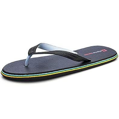 alpine swiss Mens Flip Flops Beach Sandals Lightweight EVA Sole Comfort Thongs Black Size: 7