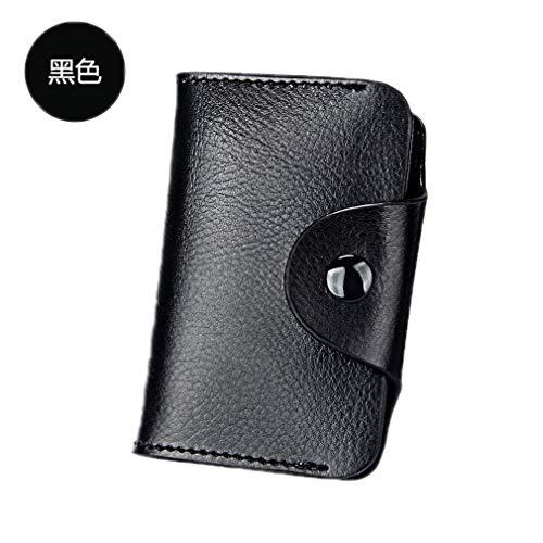 Girlsabag Hasp Small Pocket Short Wallets Women Split Leather Men Mini Purse Card Black