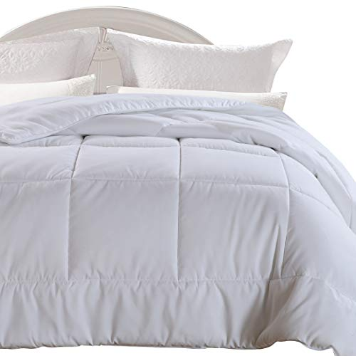 (EMONIA King Size Comforter White for All Seasons, Quilted Down Alternative Duvet Insert-Hotel Collection Reversible Hypoallergenic Light and Machine Washable )