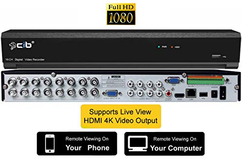 CIB True 1080P 2MP HD 16CH Recording and Display DVR System,HDMI Output up to 4K,Included 2TB HDD,Network Viewing,for TVI/HD-AHD Camera,All 480TLV to 960H CCTV Camera,Plus 8CH 4k/5MP IP Camera Input