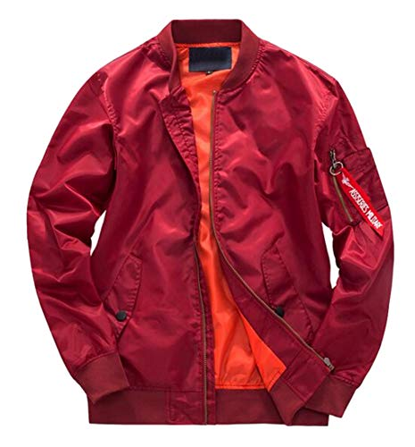 (Jotebriyo Men's Zip Up Loose Long Sleeve Pure Color Plus Size MA-1 Flight Bomber Jacket Red S)
