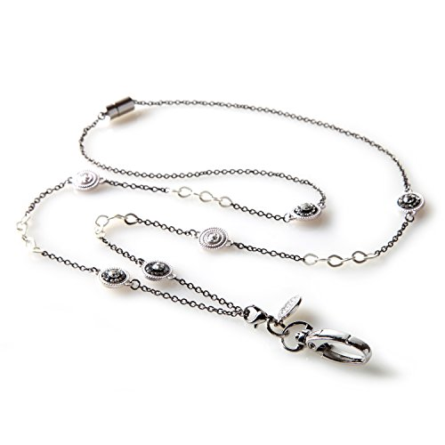(Pierrot Fashion Lanyard - Women's Silver Chained ID Badge Holder Necklace)