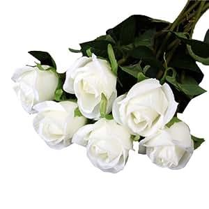 6 Piezas De Simulación De Flores Rosa De Tela Artificial Plantas-Blanco