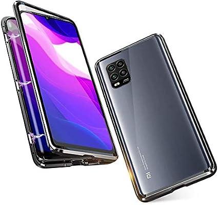DoubTech Funda para Xiaomi Mi 10 Lite 5G Carcasa Adsorcion Magnetica Tech Cover 360 Grados Protección Marco Aluminio Vidrio Templado Imán Fuerte Metal Flip Case