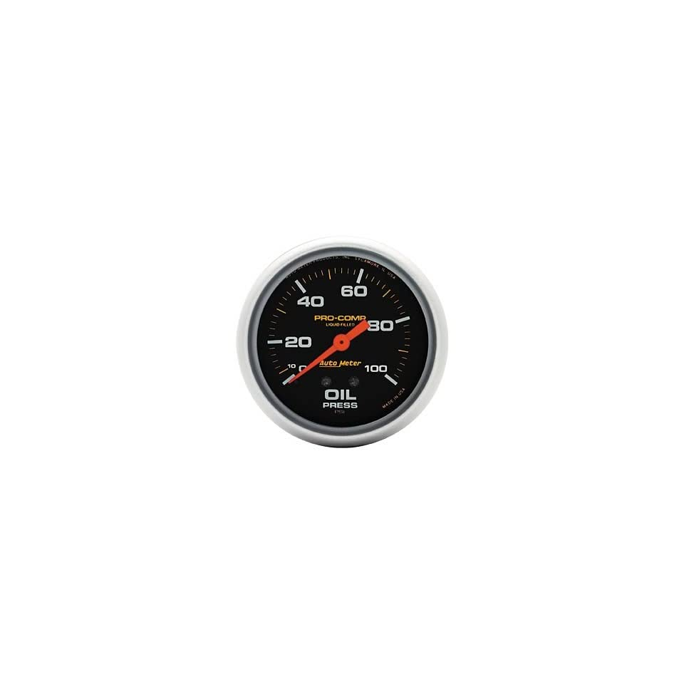 Auto Meter Pro Comp Analog Gauges Gauge, Pro Comp, Oil Pressure, 0 100 psi, 2 5/ 8 in., Analog, Mechanical, Each