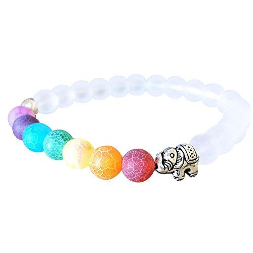 Wintefei Women Handmade Multicolor Stone Beads Bangle Alloy Elephant Bracelet Jewelry (Elephant White Bracelet)