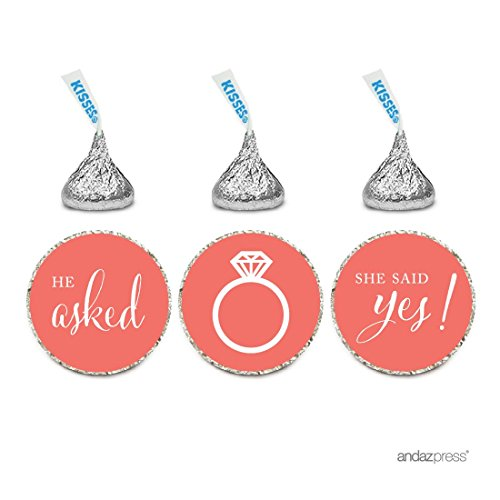 Andaz Press Chocolate Drop Labels Stickers, Wedding He Asked She Said Yes!, Deep Coral, 216-Pack, For Bridal Shower Engagement Hershey's Kisses Party Favors Decor