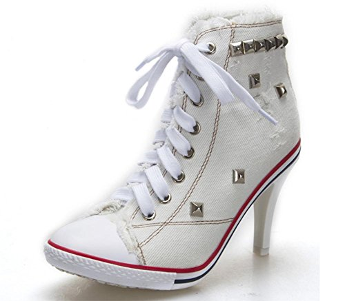 Herbst Fersen White ehemalige Schuhe Der Schuhe Cowboy Frau Aufzug Niete Segeltuchschuhe Spitze q4nCA6