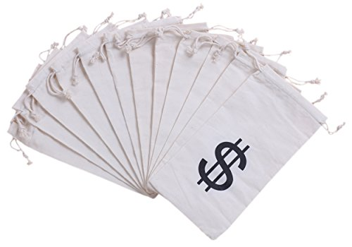 Cat Burglar Costume Accessories (Money Bag Pouch With Drawstring Closure Canvas Cloth And Dollar Sign Symbol Novelty - $ - Set of 12pcs - (4.7 x 9