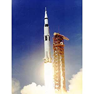 Amazon.com: Wee Blue Coo Space Apollo 11 Launch Saturn V Rocket Blast Thrust Flame USA Unframed ...