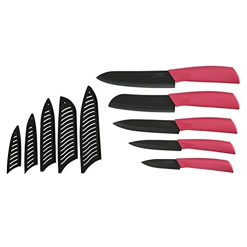 Melange 11-Piece Ceramic Knife Set with Pink Handle and Black Blade