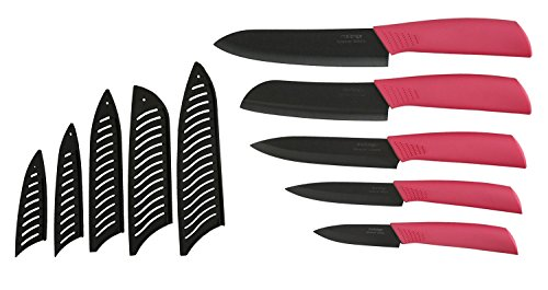 Melange 11-Piece Ceramic Knife Set with Pink Handle and Black Blade