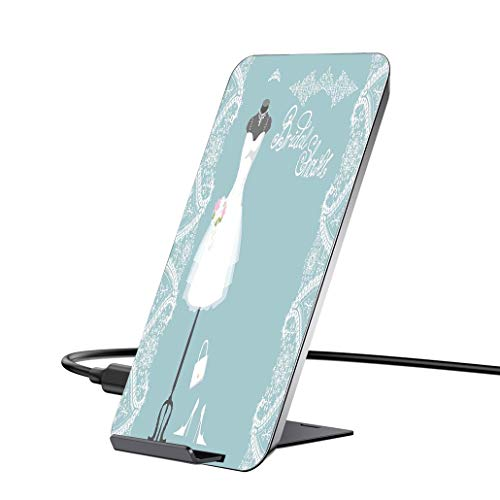 10W Wireless Charger and QC 3.0 Adapter kit,Bridal Shower Decorations,Vintage French Inspired Bride Dress with Floral Frames,Baby Blue and Whitewith iPhone, Samsung and Supports All Qi Phones.