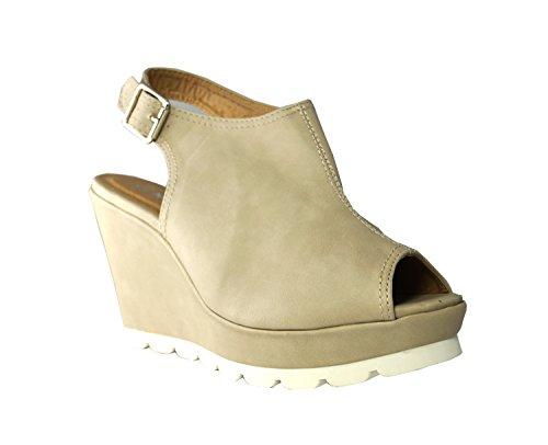 Slingbacks Toes Schuhe Pumps Sandaletten Shoes Peep Keilabsatz Of Ok Beige King Keilpumps High Heels Damen