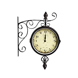 CTG, Black Vintage Metal Double-Sided Wall Bistro Clock, 8 inches
