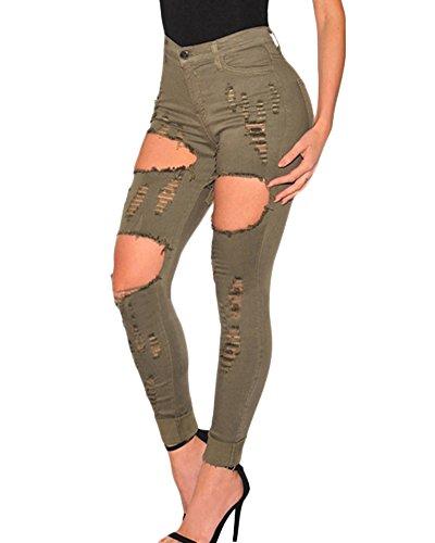 Pantalones Jeans Cintura Alta Desgarrados Elásticos Skinny Slim Vaqueros de Mujer Como La Imagen