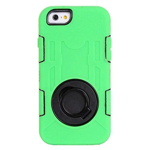 """Iphone 6 Coque Plus,Iphone 6S plus 5.5 """"Coque,Lantier 3 en 1 en caoutchouc dur + Hybrid PC Combo robuste avec Annulaire Béquille Couvercle de protection pour Apple Iphone 6 Plus/6S plus 5.5"""" Green"""