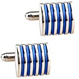 Love Needs Men's French Cufflinks Classic Square Blue Stripes Enamel Shirt Cufflinks