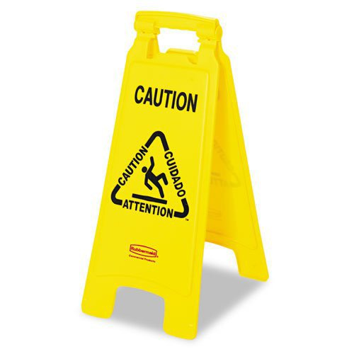 Rubbermaid 611200YW Multilingual''Caution'' Floor Sign, Plastic, 11 x 1 1/2 x 26, Bright Yellow