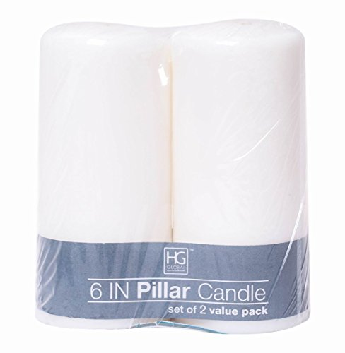 - Hosley 3 x 6 inch high, 2 Pack White Unscented Pillar Candles. Ideal for Wedding, Church, Vigil, Emergency Lanterns, Spa, Aromatherapy, Party, Reiki, Candle Garden. W1