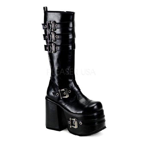 Demonia by Pleaser Women's CHOPPER-101 Knee High Black Pu Vegan Boots 6 B(M) US