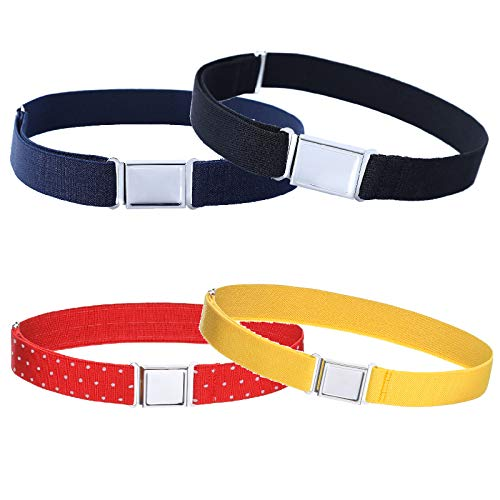 4PCS Kids Boys Adjustable Magnetic Belt - Elastic Belt with Easy Magnetic Buckle (Black\Navy blue\Fluorescent yellow\Red white wave point)