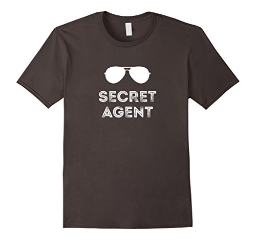 Spy Costume For Men (Mens Secret Agent Halloween Funny Costume Tee shirts Medium Asphalt)