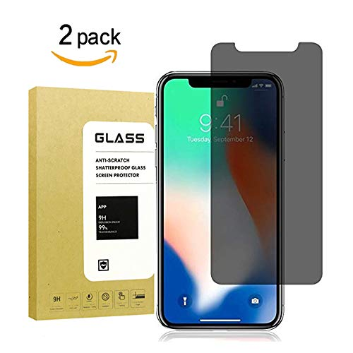 for iPhone X Privacy Screen Protector Full Coverage[2Pack],lemonkey[9H Hardness][3D Touch][Bubble Free][Anti-Scratch] Tempered Glass Anti-Spy Screen Protector for iPhone X/iPhone 10