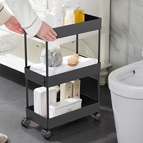 AOJIA Slim Storage Cart, 3 Tier Bathroom Cart Organizer Slide Out Storage Cart Bathroom Storage Cart Mobile Shelving…
