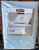 540 Thread Count King Size Blue Sateen 6 Piece Sheet Set Kirkland Flat, Fitted Sheets + 4 Pillowcases