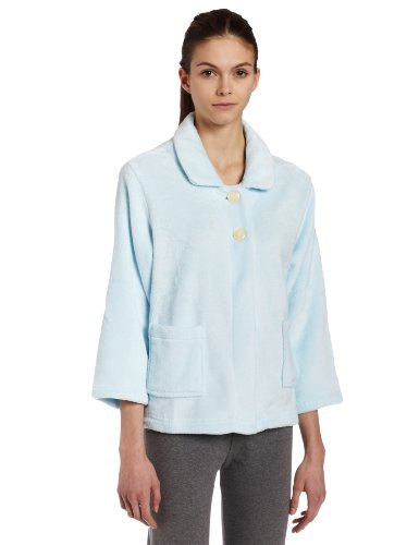 (Casual Moments Womens Bed Jacket With Peter Pan Collar, Light Blue, X-Large)
