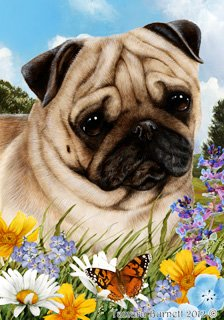 Pug Fawn Dog - Tamara Burnett Summer Flowers House Dog Breed Flag 28'' x 40''
